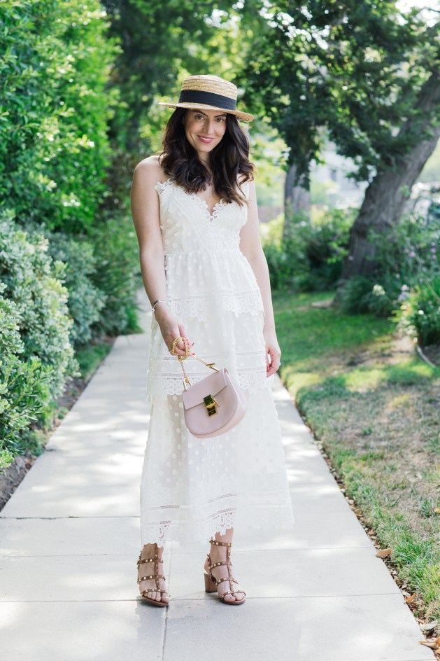 blogger Styles Notes By Belen wears a white selfportrait dress with valentino shoes, chloe drew bag and H&M hat-1