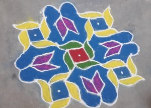 Beautiful dots rangoli by Abha Meshram