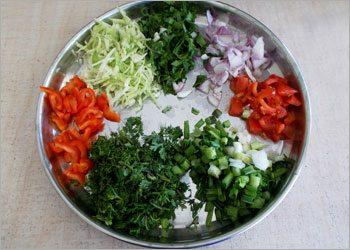 Vegetables for ragi dosa