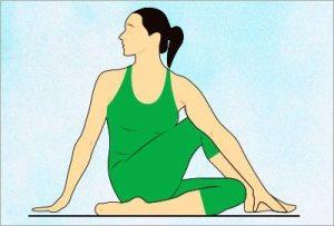 Ardha matsyendrasana yoga asana to reduce belly fat