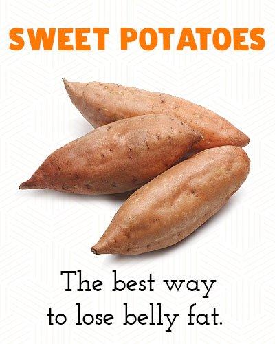 Zoete aardappelen om buikvet te verliezen