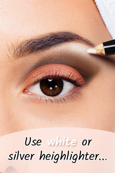 White or Silver Highlighter For Black Eyes