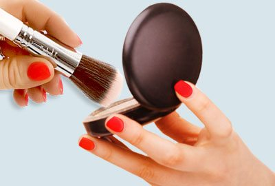 Sweep the brush over the blush
