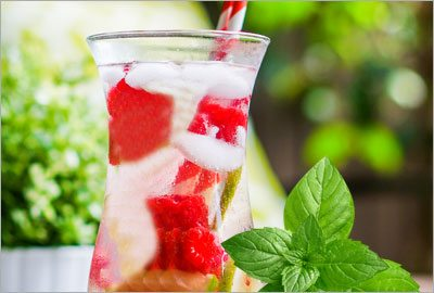 Watermelon strawberries mint infusion
