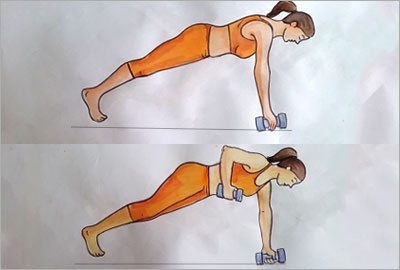 Plank With the Dumbbell Row