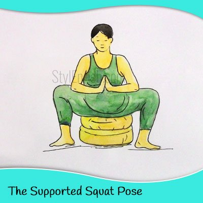 The supported squat yoga pose for pregnant women