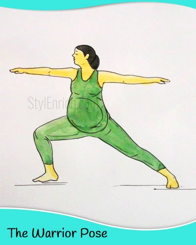 The warrior yoga pose for pregnant women