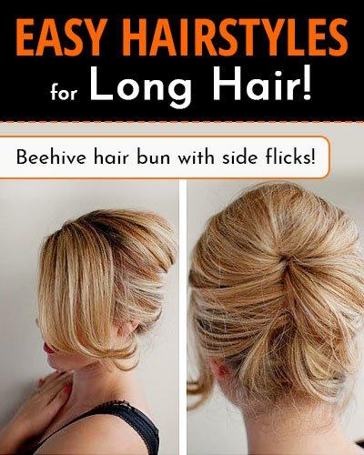 Beehive Hair Bun With Side Flicks