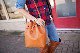 Wishing Well Intention Acacia Ring, cammello and rosa mansur gavriel bucket bag, j crew buffalo plaid excursion vest, timberland otk boots
