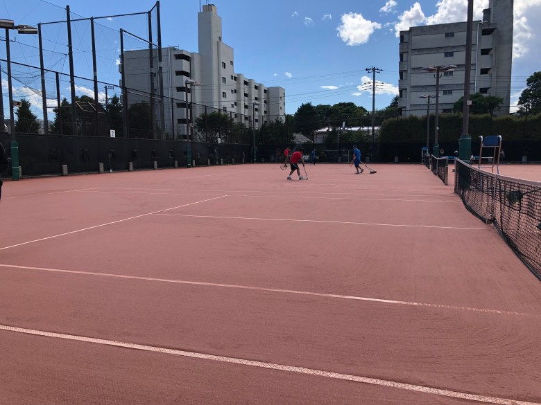 tennis court red clay artificial