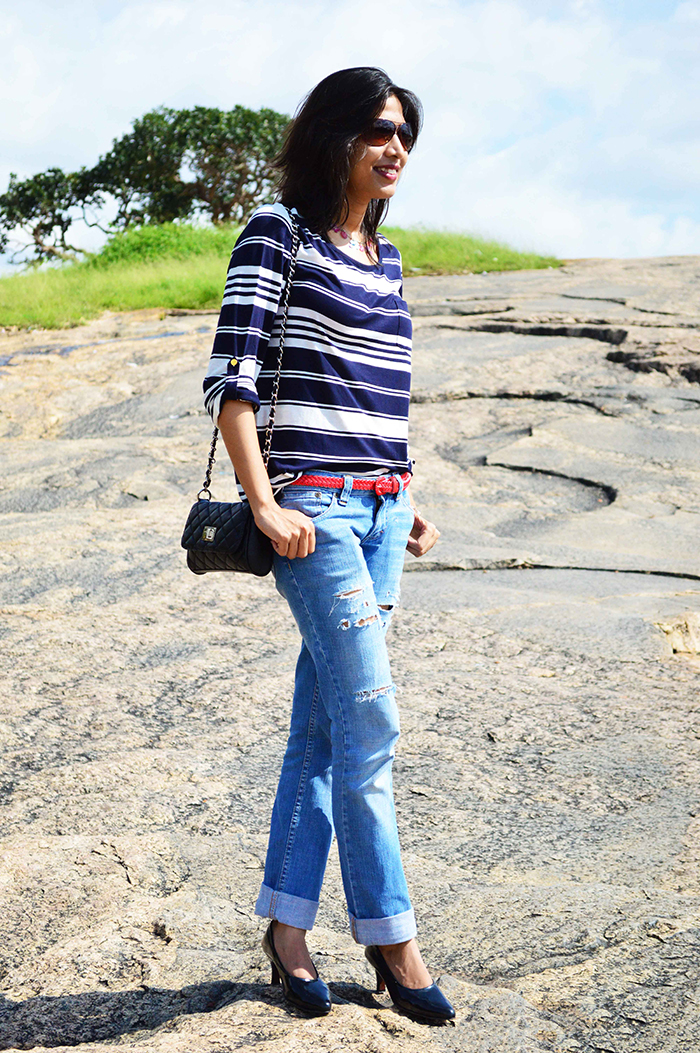 Fashion, Style, Fashion Photography, Street Fashion, Fashion Blogger, Casual wear, Indian Fashion Blogger, Distressed Denim, Striped Top, Black pumps, Style Over Coffee