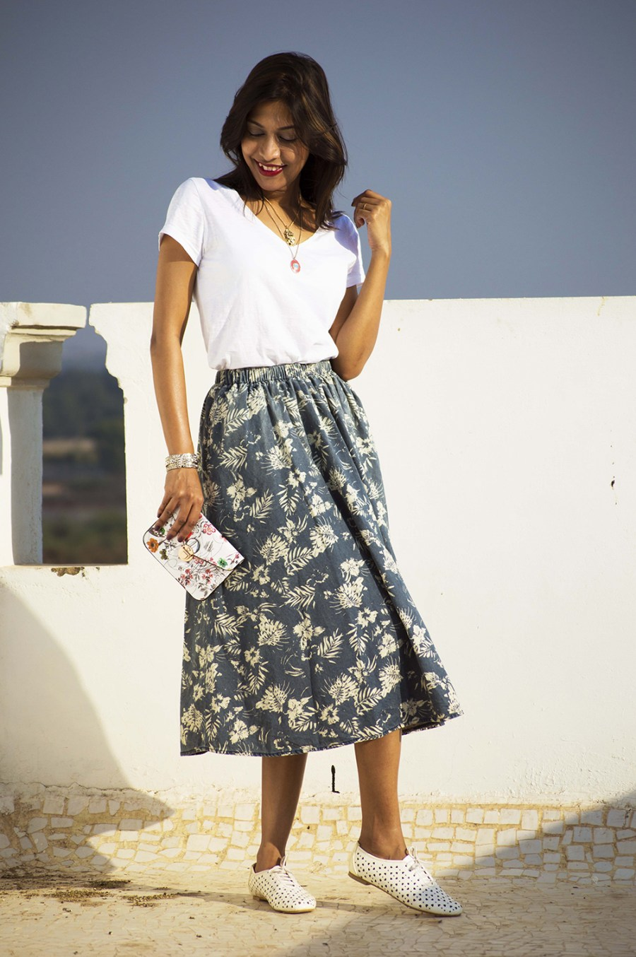 Fashion, Style, Indian Fashion Blogger, Street Style, Summer fashion, printed midi skirt style, Printed denim skirt, photography, style over coffee-3