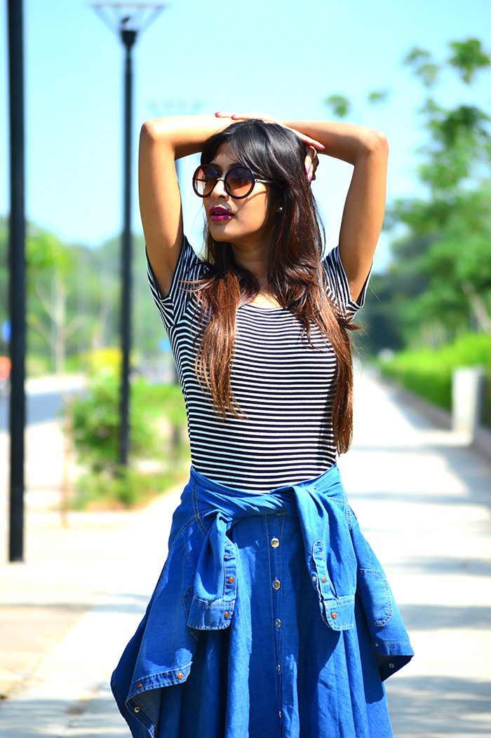 Fashion, Style, Fashion Photography, Indian Fashion Blogger, Denim Skirt, Striped tee, round sunglasses, retro sunglasses, denim shirt, Outfit of the day, Casual wear, wardrobe basics