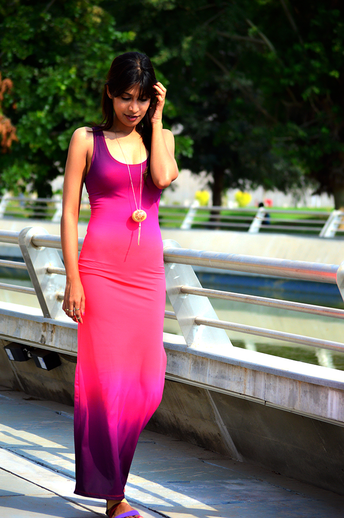 Fashion, Style, Fashion Photography, Street Style, Fashion Blogger, Indian Fashion Blogger, Style Over Coffee, Casual wear, Maxi Dress, Ombre Dye Effect, AMI Clubwear, Maxi dress with a slit, Strappy Sandals