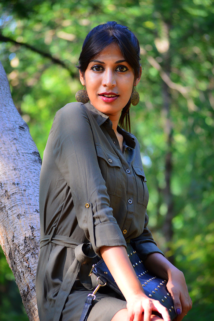 Fashion, Style, Indian Fashion Blog, Indian Fashion Blogger, Street Style, Fashion Photography, Outfit of the day, Style Over Coffee, Military Green, Shirt Drss, Black Boots, Olive Shirt Dress, Casual Wear, Military Green