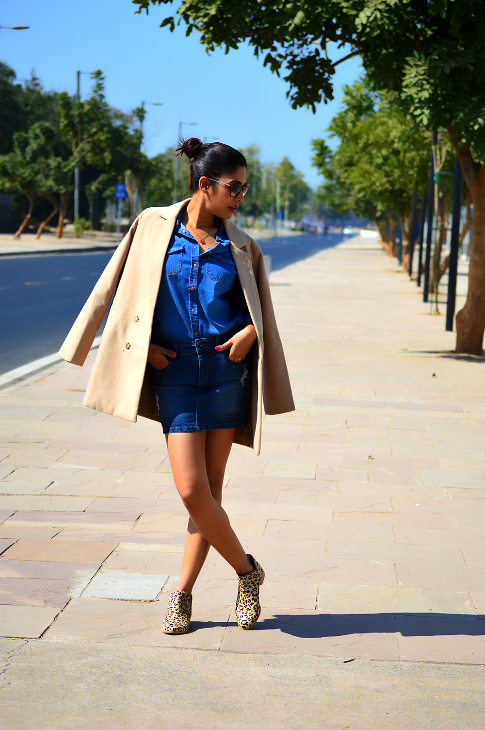 Fashion, Style, OOTD, Street Style, Indian Fashion Blog, Denim Mini Skirt, Denim Shirt, Beige coat, Fashion Photography, Leopard printed boots, Style Over Coffee, Outfit post, Fashion blog