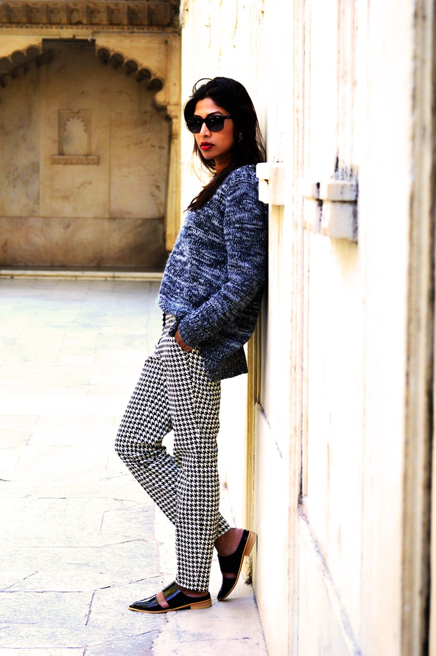 Fashion, Style, Indian Fashion Blog, OOTD, Street Style, Fashion Blogger, Fashion Photography, Vero Moda Printed Pants, Mango Sweater, Lara Karen Shoes, Jabong, Holiday, Travel, Top Fashion