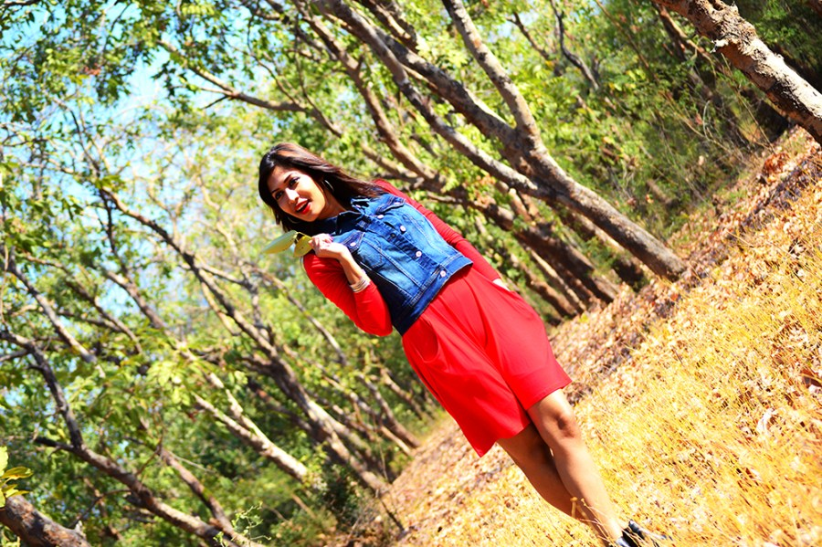 Fashion, Style, Photography, Indian fashion Blog, Denim Gillet, OOTD, Street Style, Mngo Fashion, Denim Vest, Red Dress, Black Boots, Street Style Photography, Outfit Post, Fashion Blog