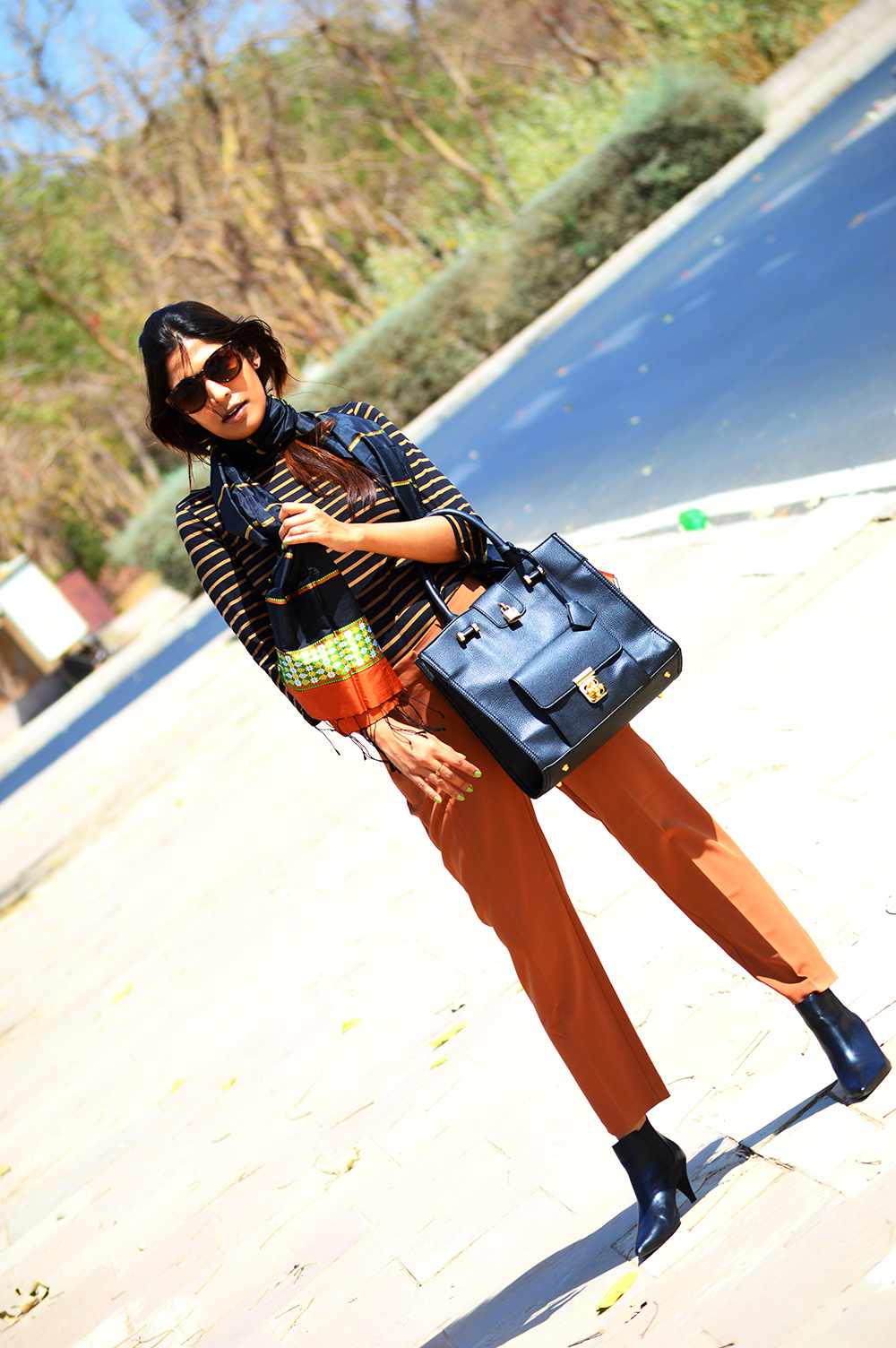 Fashion, Style, Indian Fashion Blogger, Fashion Photography, Street Style, Outfit of the day, Brown trousers, Striped Top, Silk Scarf, Black Boots, Fashion Blog