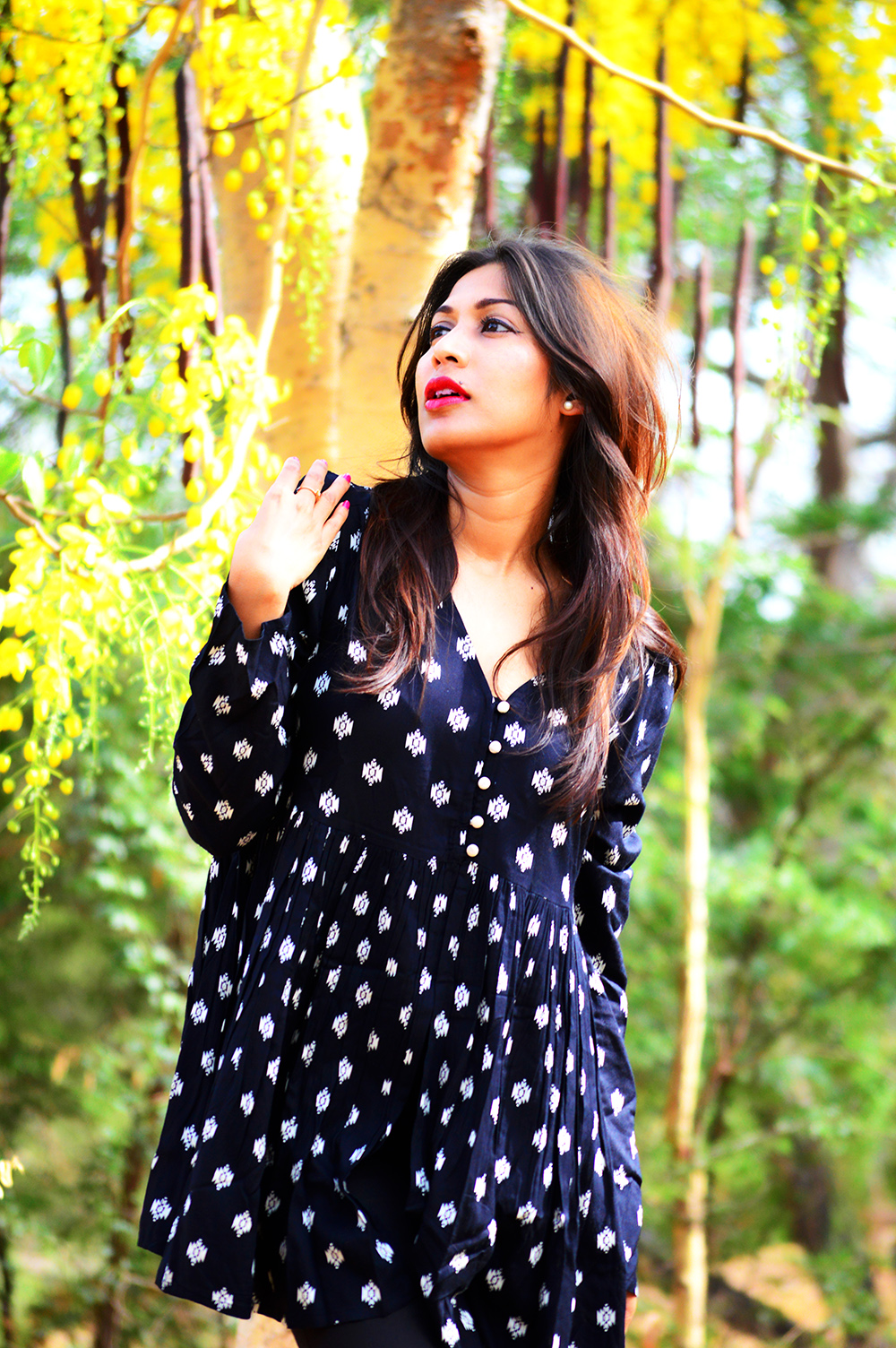 Fashion, Style, Fashion Photography, Street Style, Personal Style Blogger, Indian Fashion Blog, Summer Fashion, Black Printed Blouse, Black distressed denim, Navy booties, Red lip color, Fashion Blogger