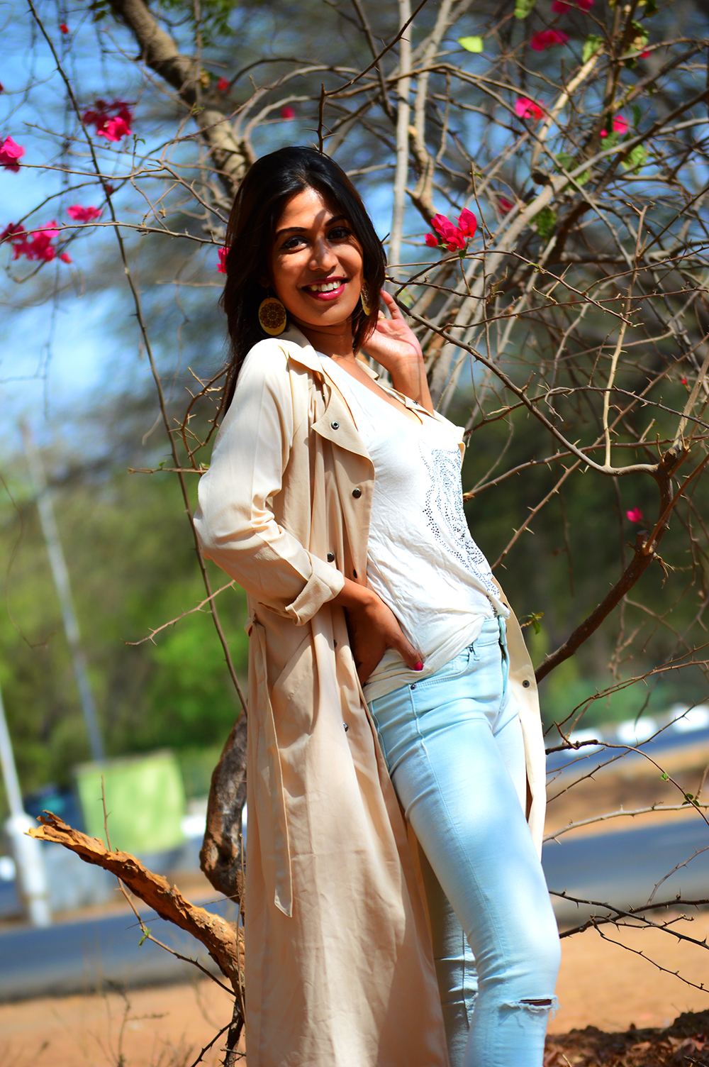 Fashion, Style, Fashion Photography, Street Style, Outfit of the day, Pastel colors, Beige Trench Coat, White tank top, Mint distressed jeans, Summer Fashion, Indian Fashion Blog, Fashion Blogger, Personal Style Blogger