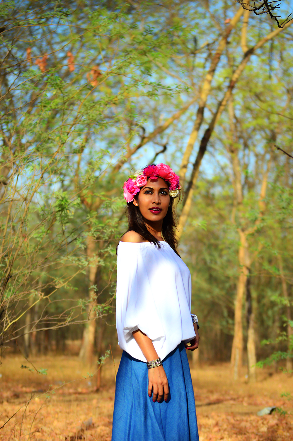 Fashion, Style, Indian Fashion Bloggers, Fashion Blogger, Bardot Top Trend, Indian Street Style, Flower Crown, Street Fashion, Street Style Photography-3