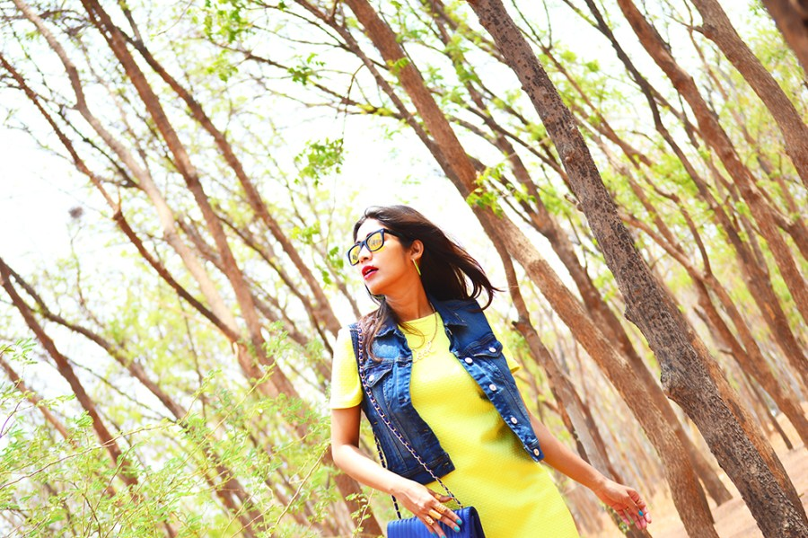 Fashion, Style, Street Style, Summer Fashion, Fashion Photography, Yellow Dress, Denim Vest, Sling Bag, Fashion Blogger, Indian Fashion-1