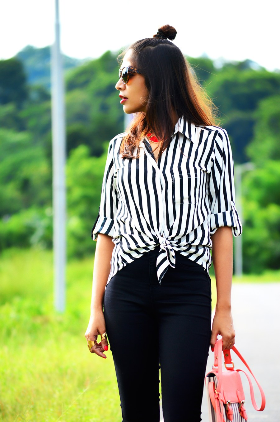 Fashion, Style, Indian Fashion Blogger, Fashion Blogger, Street Style, Summer Fashion, Stripes, Striped Shirt, Black High Wasit Jeans, Black Boots, Hairstyle, Style Over Coffee, Beauty, Sarmistha Goswami, Pankaj Jyoti Barua-3