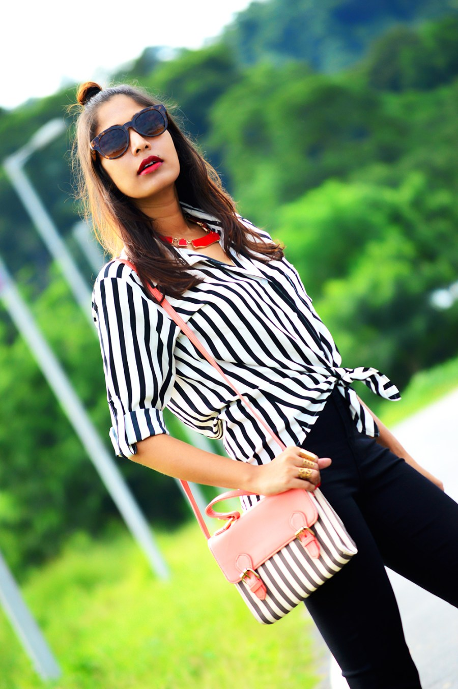 Fashion, Style, Indian Fashion Blogger, Fashion Blogger, Street Style, Summer Fashion, Stripes, Striped Shirt, Black High Wasit Jeans, Black Boots, Hairstyle, Style Over Coffee, Beauty, Sarmistha Goswami, Pankaj Jyoti Barua-4