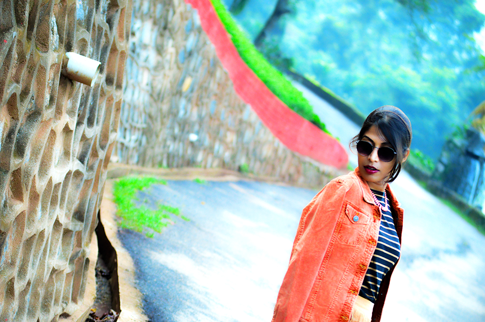 fashion, style, street style, street fashion, sarmistha goswami, style over coffee, pankaj jyoti barua, fashion blogger, indian fashion blogger, summer fashion, indian street style photography, fringe skirt, corduroy jacket, striped tee, lenskart sunglasses, Summer Street Style-3