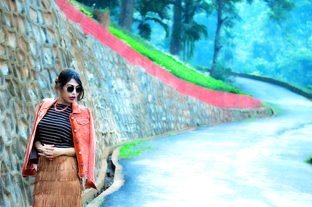 fashion, style, street style, street fashion, sarmistha goswami, style over coffee, pankaj jyoti barua, fashion blogger, indian fashion blogger, summer fashion, indian street style photography, fringe skirt, corduroy jacket, striped tee, lenskart sunglasses, Summer Street Style-7