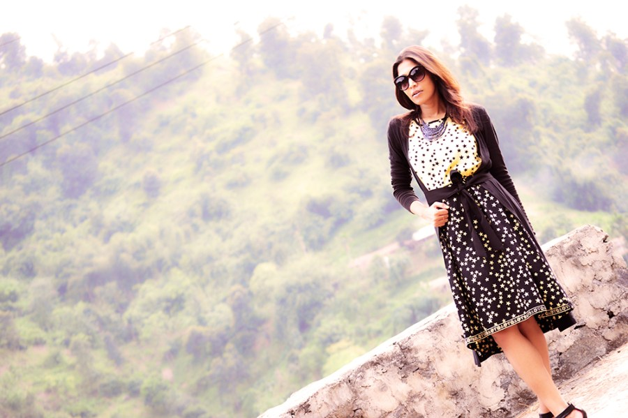 Fashion, Style, Style Over Coffee, Sarmistha Goswami, Fashion Blogger, Street Style, Beauty, Fashion Photography, Star Printed Dress, Black Shrug with belt-6