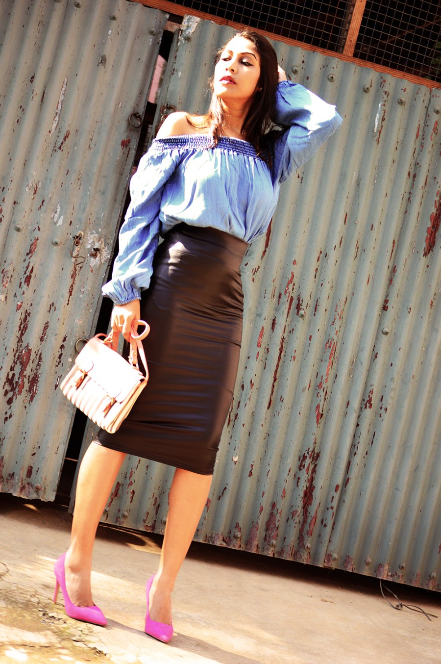 Fashion, Style, Faux Leather, Fall Fashion, Street Style, Indian Fashion Blogger, Fashion Photography, Leather pencil skirt, bardot top-6