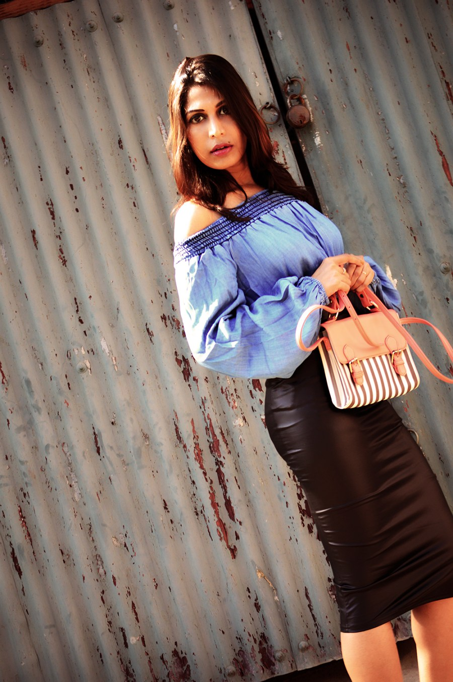 Fashion, Style, Faux Leather, Fall Fashion, Street Style, Indian Fashion Blogger, Fashion Photography, Leather pencil skirt, bardot top-1