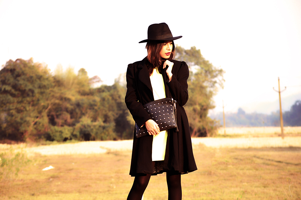 Yellow, Fashion, Style, Indian Fashion Blogger, Photography, Black Coat, Fedora Hat, Street Style-4