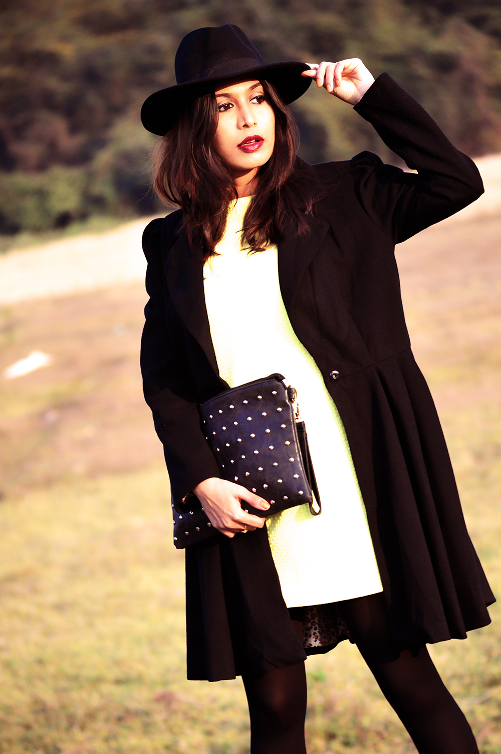 Yellow, Fashion, Style, Indian Fashion Blogger, Photography, Black Coat, Fedora Hat, Street Style-5