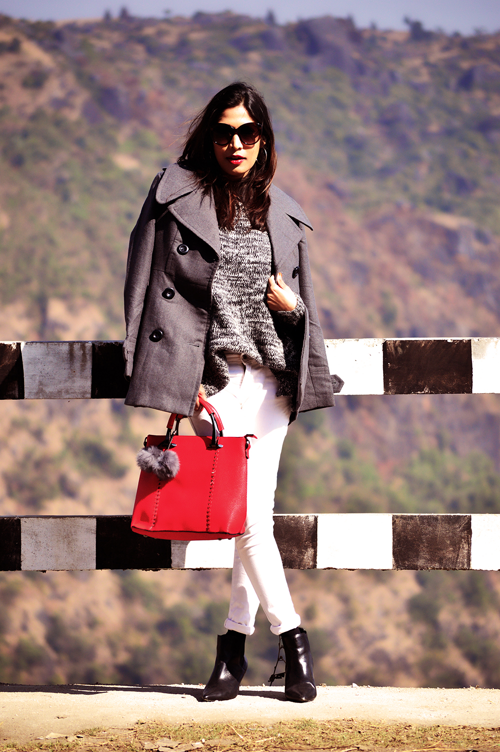 Fashion, Style, Grey Outfit, Vacation Style, Photography, Indian Fashion Blogger, Street Style, Winter Fashion, Grey Coat- 6