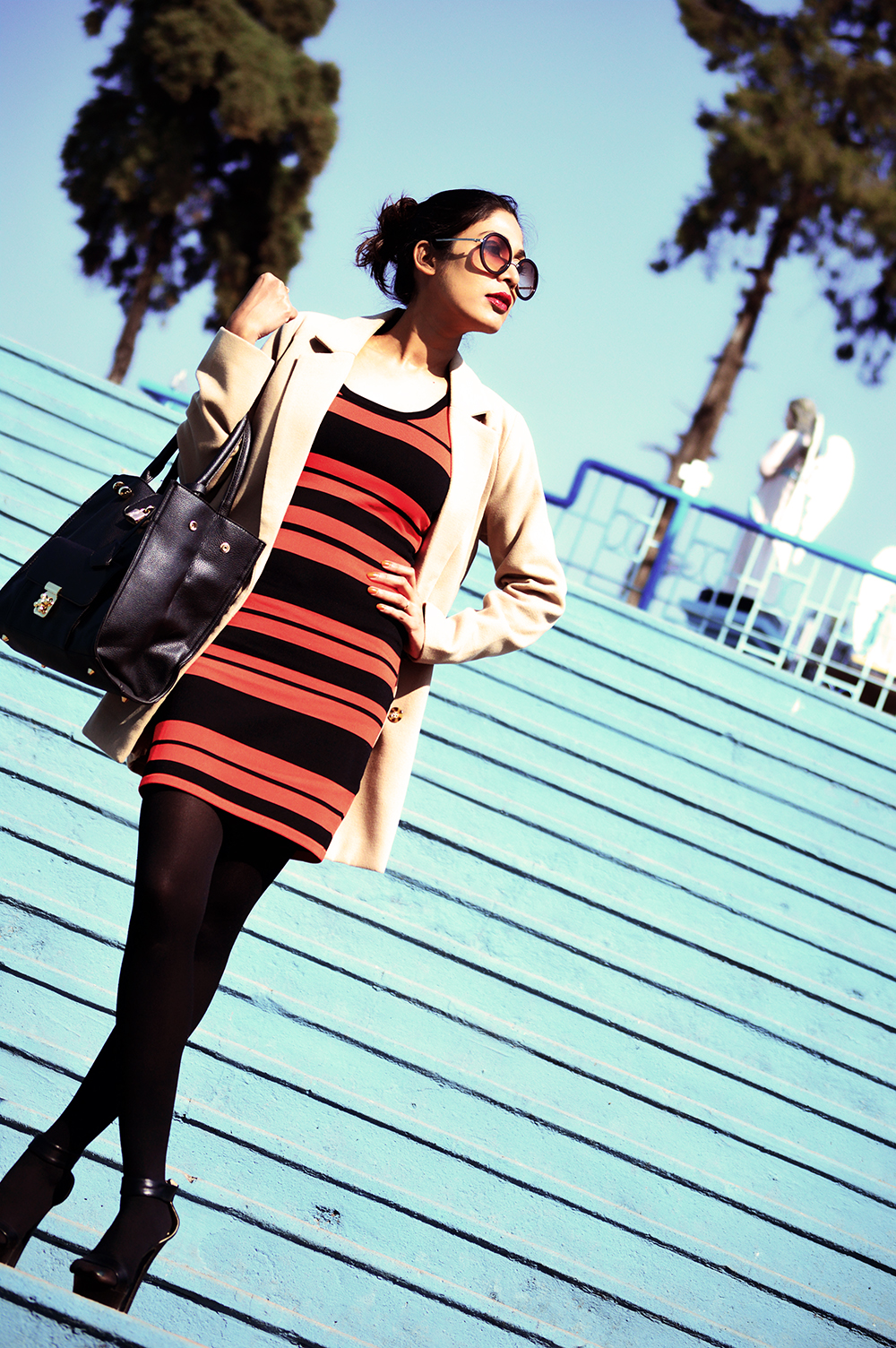 Fashion, Style, Indian Fashion color, Striped Dress, Color, Photography, Street Style, Winter Fashion, Beauty-6