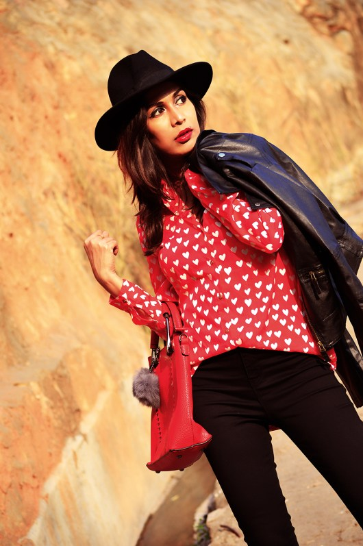 Fashion, Style, Heart Print, Indian Fashion Blogger, Street Style, Beauty, Biker Jacket, Fashion Photography-7