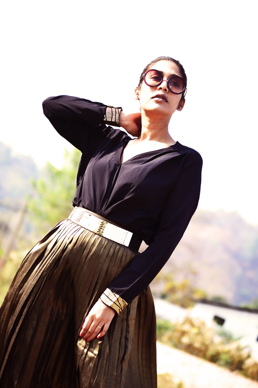 Fashion, Style, Indian Fashion Blogger, Golden, Metallic Sneakers, Golden Skirt, Street Style, Photography-5