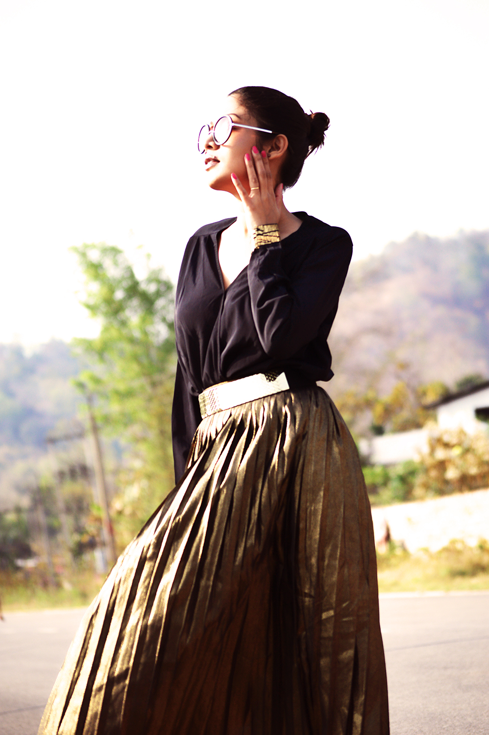 Fashion, Style, Indian Fashion Blogger, Golden, Metallic Sneakers, Golden Skirt, Street Style, Photography-7