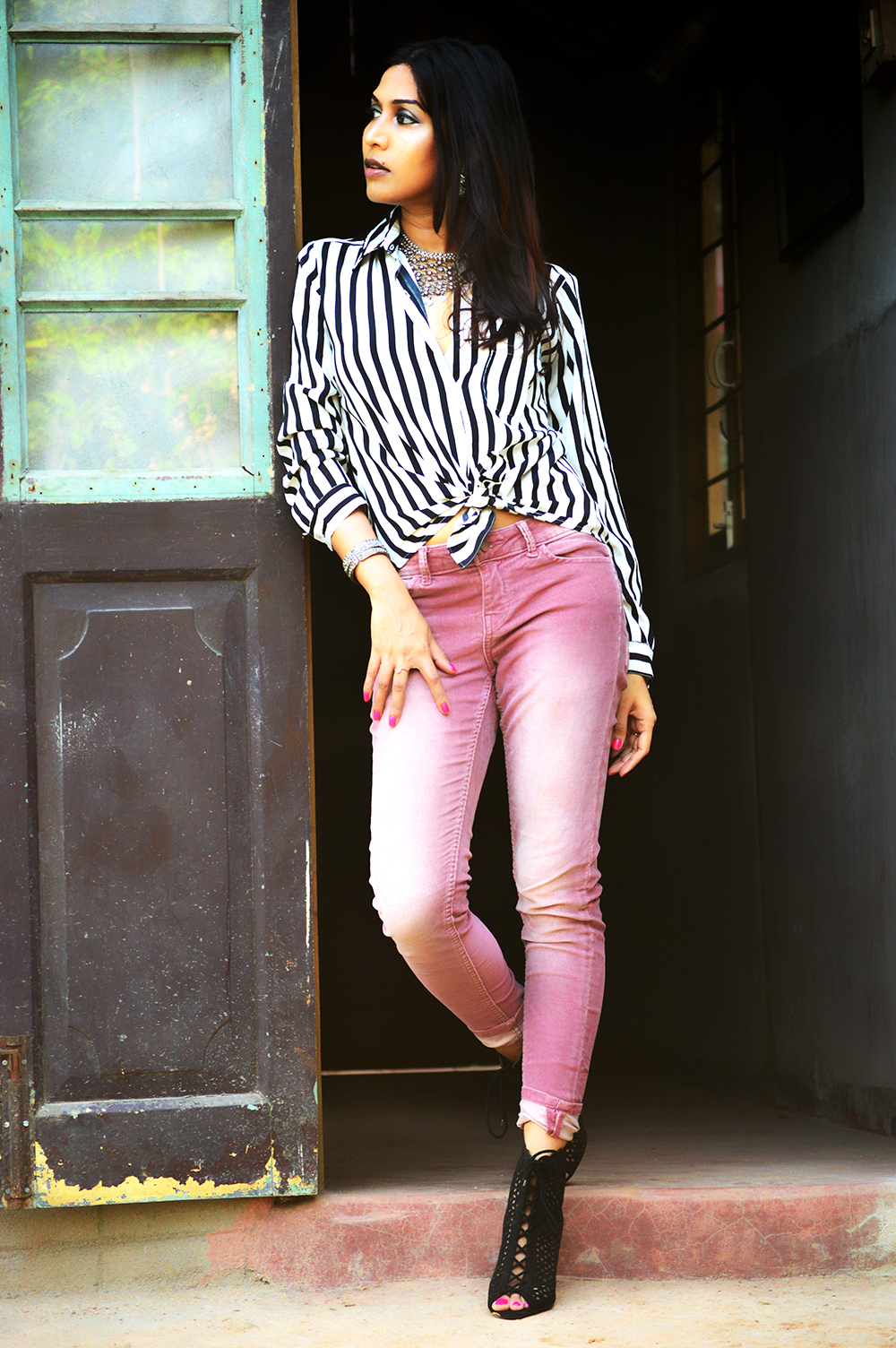 Powder Pink. Corduroy Pants, Fashion, Style, Indian Fashion Blogger, Photography, Stripes-2