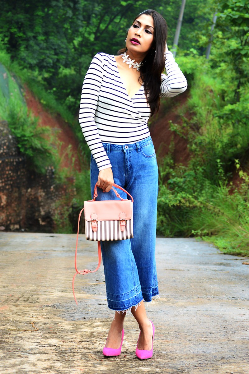 Fashion, Style, Beauty, Culottes, Denim Culottes, Photography, Striped Top-6