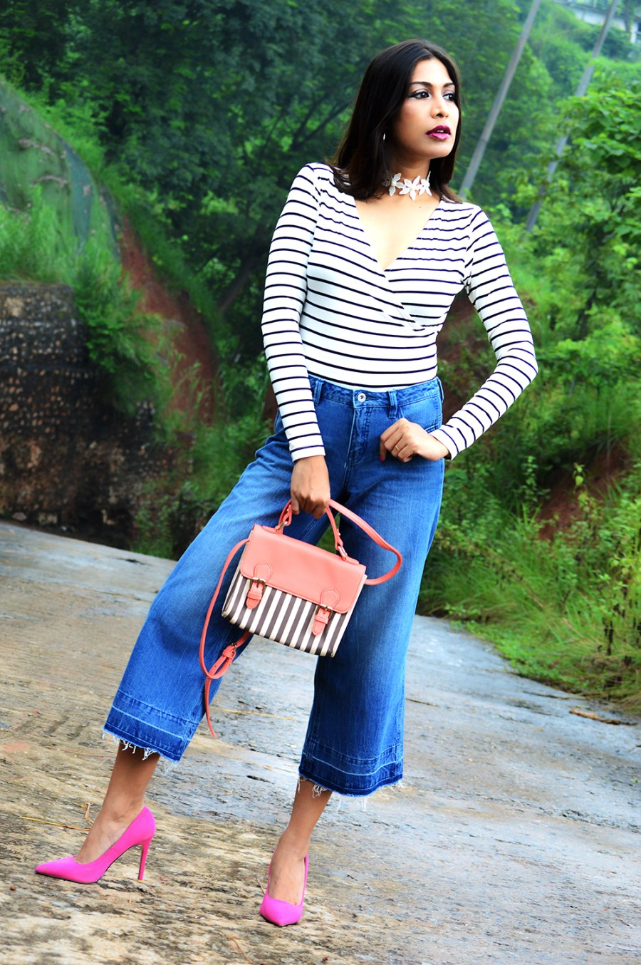 Fashion, Style, Beauty, Culottes, Denim Culottes, Photography, Striped Top-1