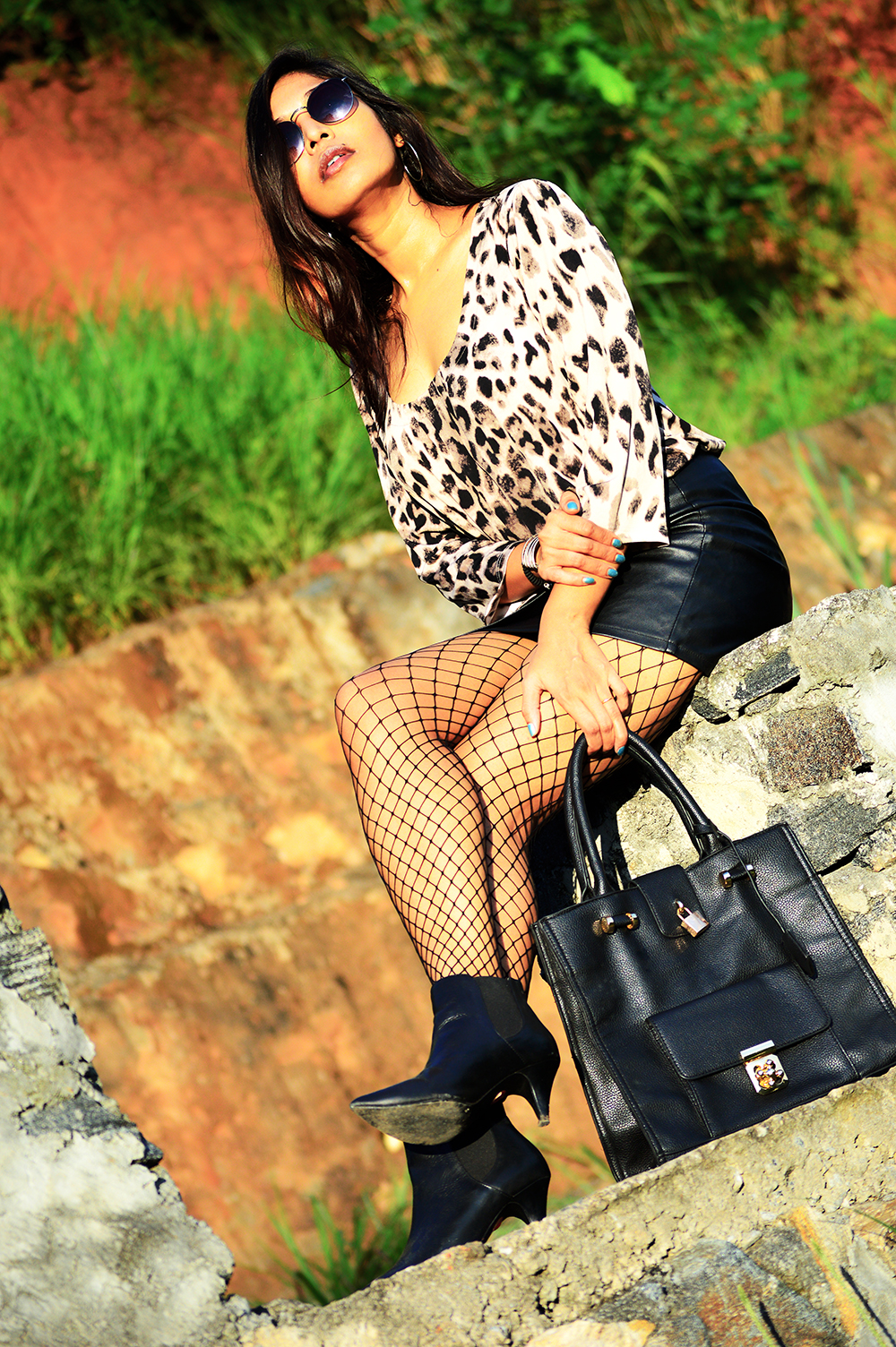 Leopard Top, Street Style, Indian Fashion Blogger, Fashion, Style, Fishnet Stockings, Faux Leather skirt, Photography-1