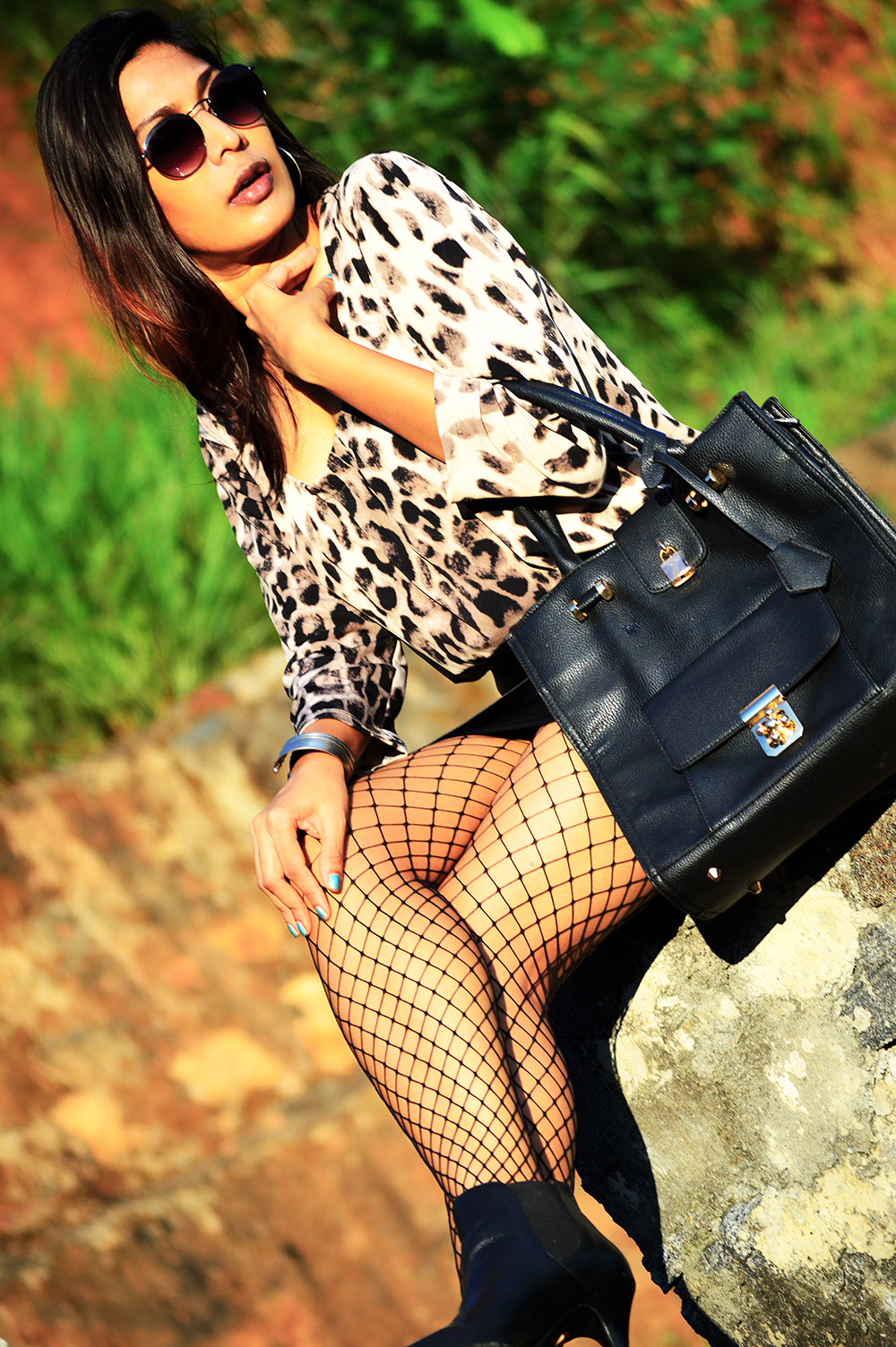 Leopard Top, Street Style, Indian Fashion Blogger, Fashion, Style, Fishnet Stockings, Faux Leather skirt, Photography-6
