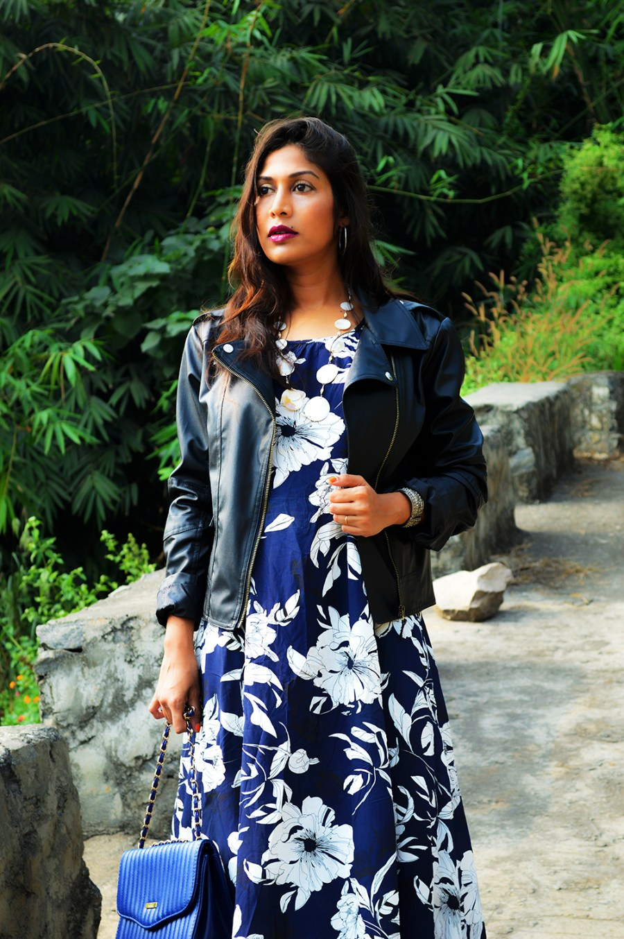 Synthetic leather, Fashion, Style, Printed maxi dress, faux leather, biker jacket, Fashion Blogger, Indian blogger, Photography, OOTD-6