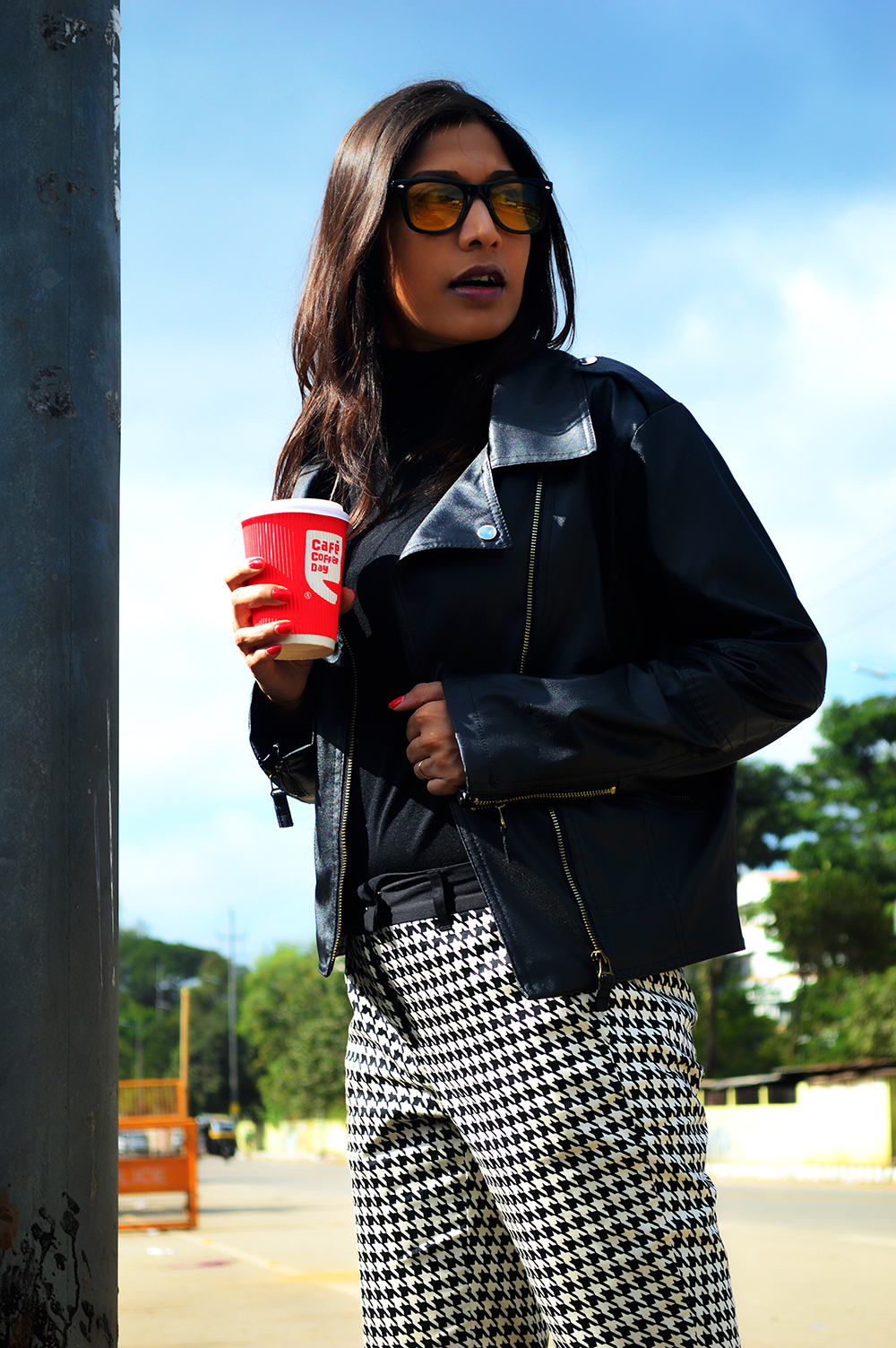 Black Color, Fashion, style, Indian Fashion Blogger, Street Style, Beauty, Photography, OOTD, Biker Jacket, Hounds tooth-2