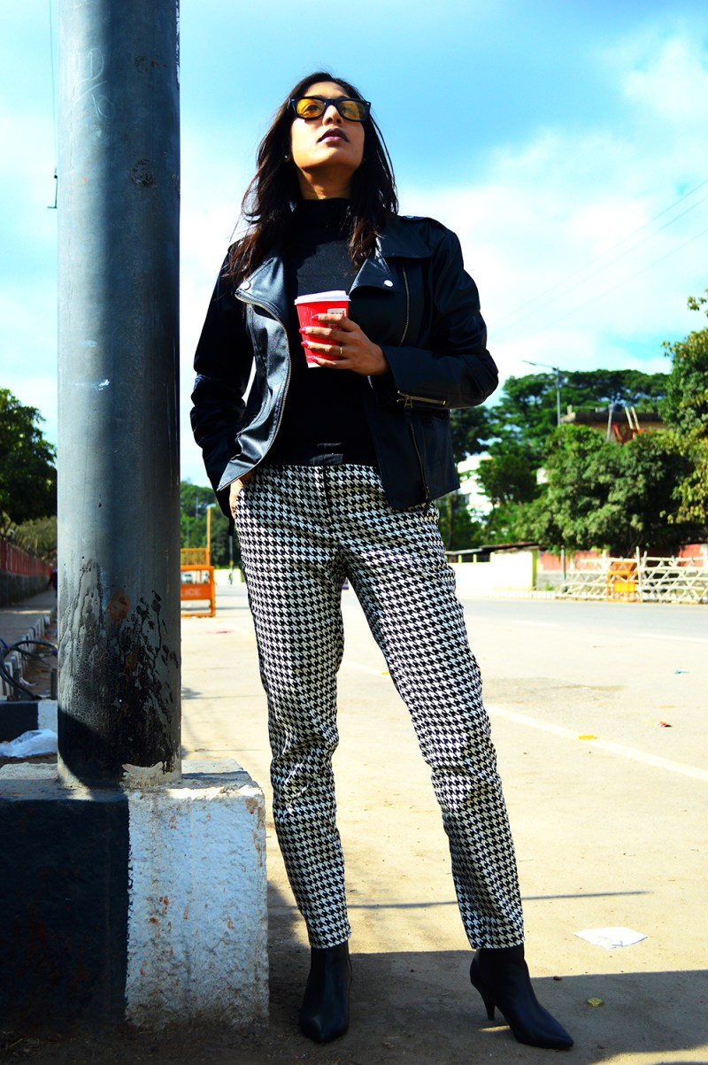 Black Color, Fashion, style, Indian Fashion Blogger, Street Style, Beauty, Photography, OOTD, Biker Jacket, Hounds tooth-1