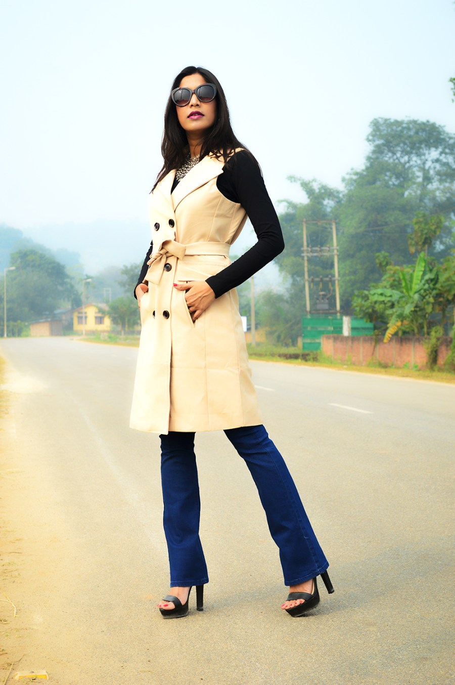 Sleeveless, Trench Coat, Bootcut Denims, Fashion, Style, Photography, Street Style, Indian Blogger, Fashion Blogger-5
